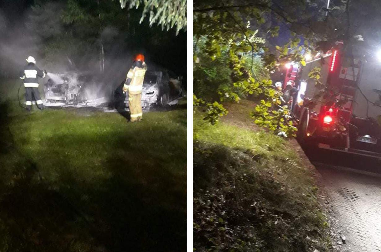 Pożar dwóch samochodów w okolicach Kościerzyny. Policja nie wyklucza podpalenia. 260 tys. zł strat