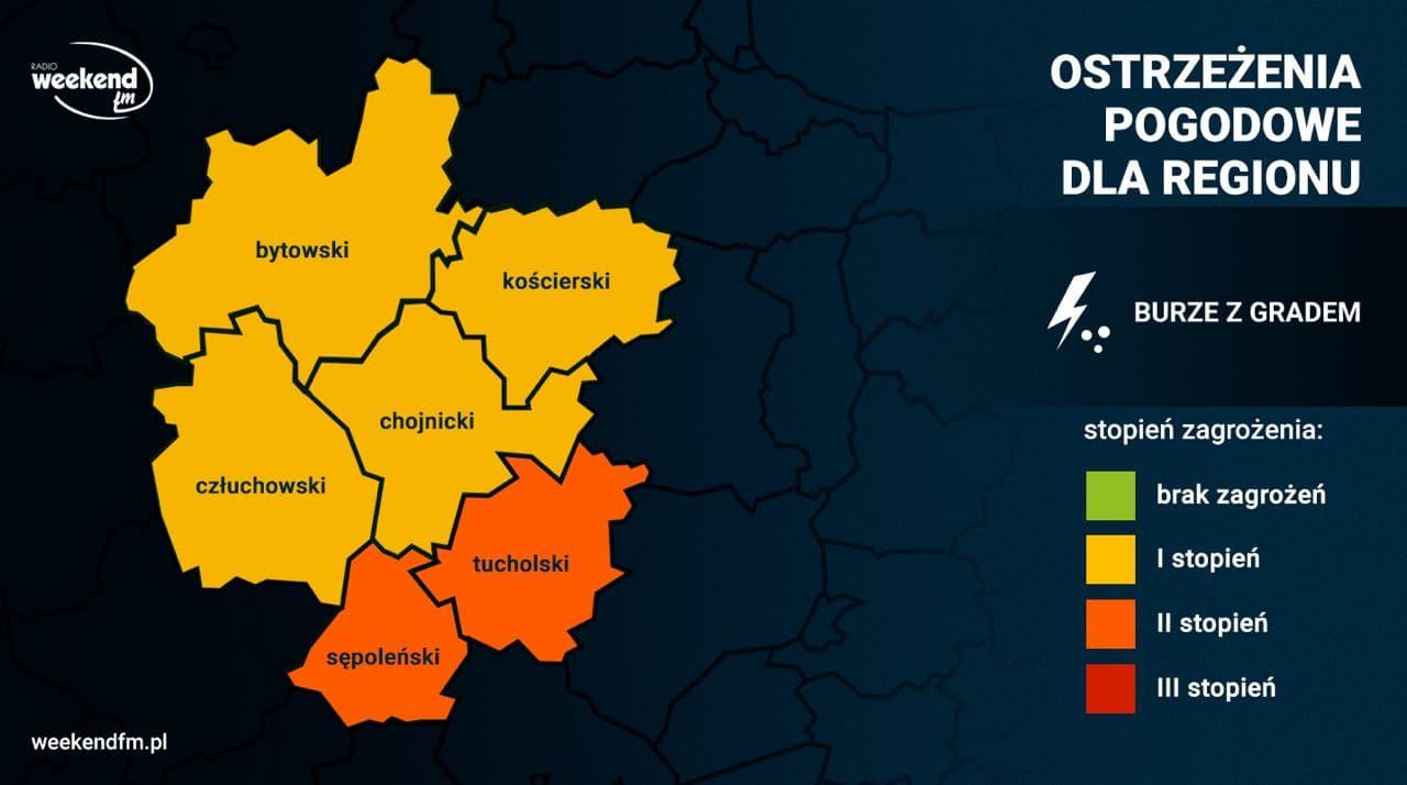 Kolejny dzień z burzami. Dla powiatów tucholskiego i sępoleńskiego IMGW wprowadził 2. stopień zagrożenia
