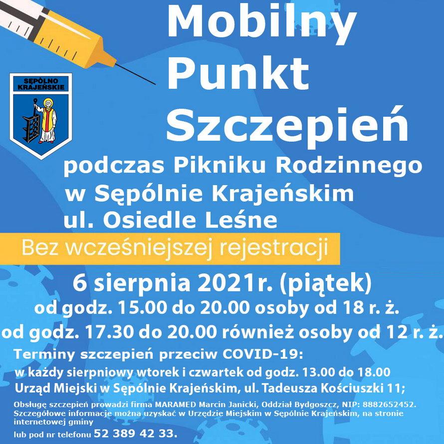 Mobilny punkt szczepień stanie jutro 06.08 w trakcie inauguracji Dni Sępólna Krajeńskiego