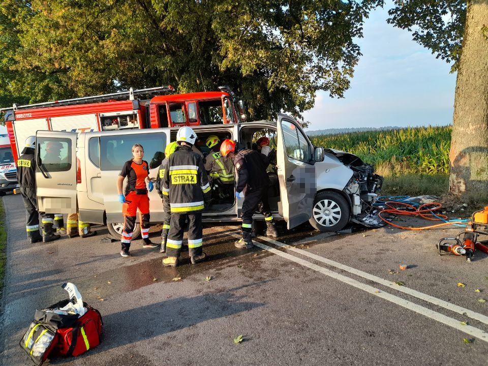 Samochód uderzył w drzewo na trasie z Przechlewa do Człuchowa. Kierowca trafił do szpitala FOTO