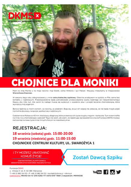 Chojnickie Centrum Kultury apeluje o pomoc dla chorej na białaczkę Moniki z Wierzchowa Dworzec