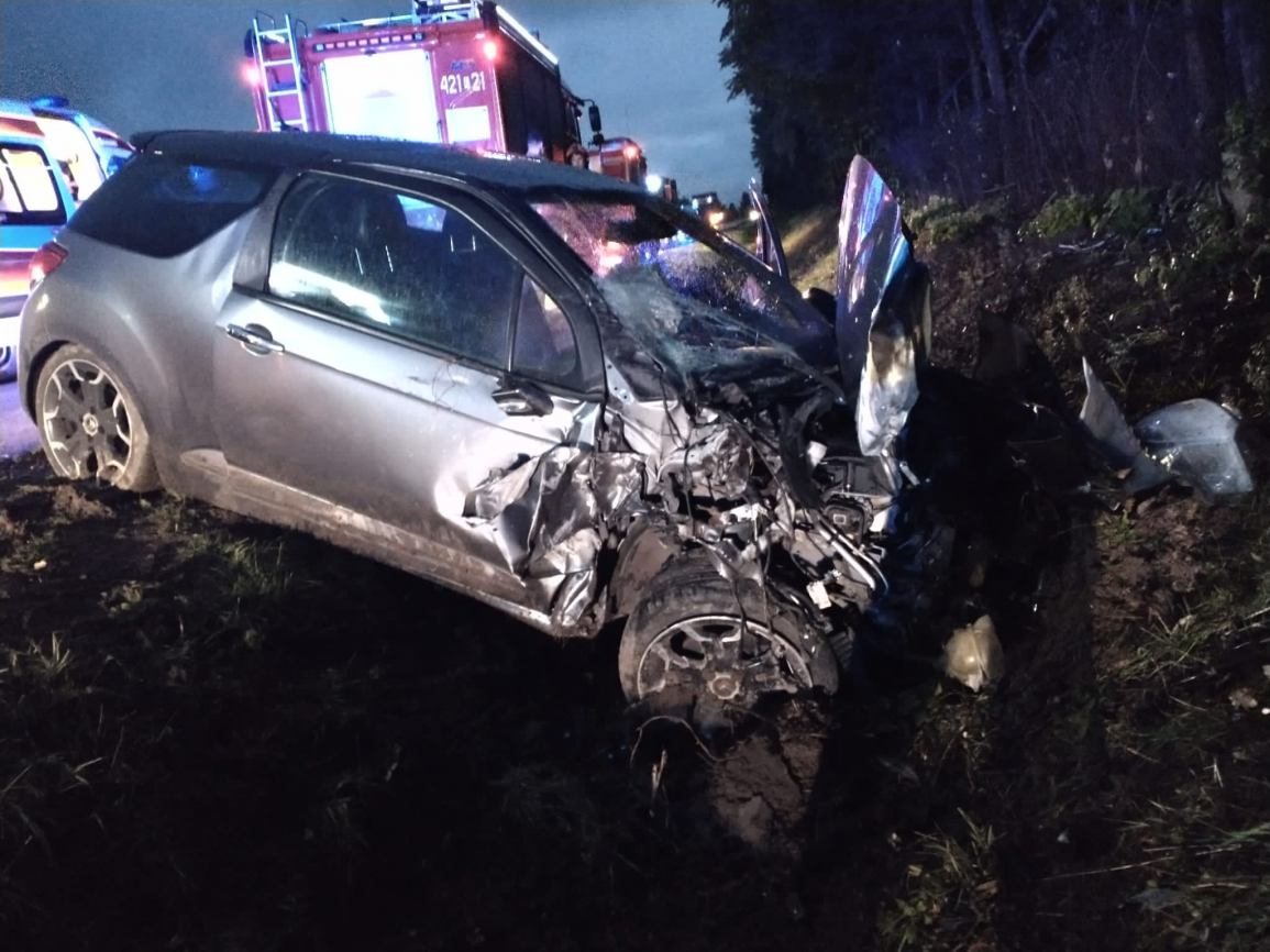Kierowca citroena jest winny spowodowania wypadku pod Debrznem