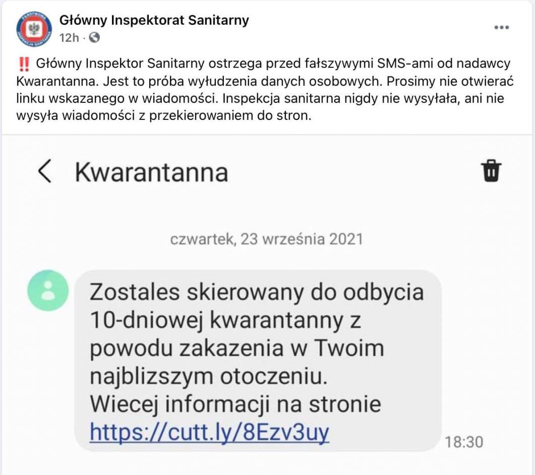 Powiatowa Stacja Sanitarno-Epidemiologiczna w Chojnicach przestrzega przed fałszywymi SMS-ami o kwarantannie